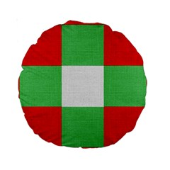 Fabric Christmas Colors Bright Standard 15  Premium Round Cushions by Nexatart