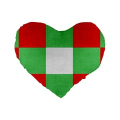 Fabric Christmas Colors Bright Standard 16  Premium Heart Shape Cushions by Nexatart