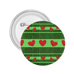 Fabric Christmas Hearts Texture 2 25  Buttons by Nexatart