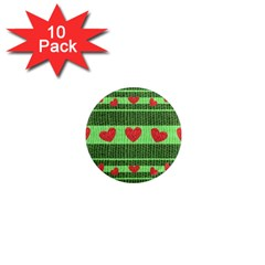 Fabric Christmas Hearts Texture 1  Mini Magnet (10 Pack)  by Nexatart
