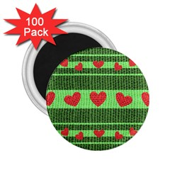 Fabric Christmas Hearts Texture 2 25  Magnets (100 Pack)