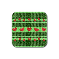 Fabric Christmas Hearts Texture Rubber Square Coaster (4 pack)