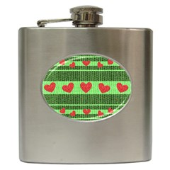 Fabric Christmas Hearts Texture Hip Flask (6 Oz)