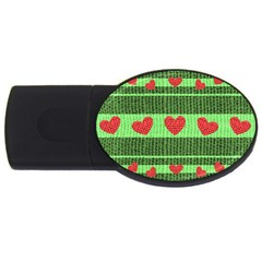 Fabric Christmas Hearts Texture Usb Flash Drive Oval (4 Gb)