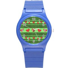 Fabric Christmas Hearts Texture Round Plastic Sport Watch (s)