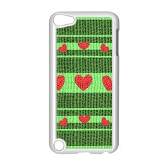 Fabric Christmas Hearts Texture Apple Ipod Touch 5 Case (white)