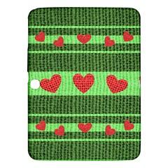Fabric Christmas Hearts Texture Samsung Galaxy Tab 3 (10 1 ) P5200 Hardshell Case