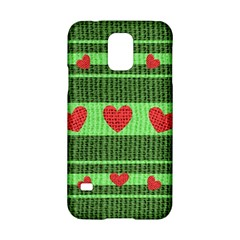 Fabric Christmas Hearts Texture Samsung Galaxy S5 Hardshell Case