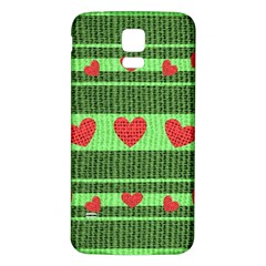 Fabric Christmas Hearts Texture Samsung Galaxy S5 Back Case (white)