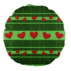 Fabric Christmas Hearts Texture Large 18  Premium Flano Round Cushions by Nexatart