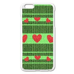 Fabric Christmas Hearts Texture Apple iPhone 6 Plus/6S Plus Enamel White Case by Nexatart