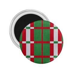 Fabric Green Grey Red Pattern 2 25  Magnets