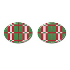 Fabric Green Grey Red Pattern Cufflinks (oval)