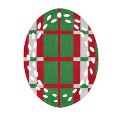 Fabric Green Grey Red Pattern Oval Filigree Ornament (two Sides) by Nexatart