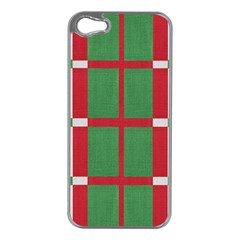 Fabric Green Grey Red Pattern Apple Iphone 5 Case (silver)