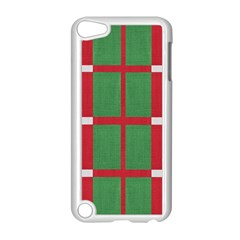 Fabric Green Grey Red Pattern Apple Ipod Touch 5 Case (white) by Nexatart