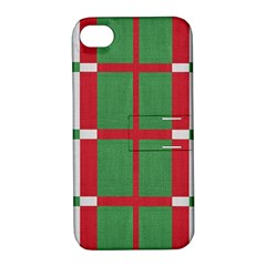 Fabric Green Grey Red Pattern Apple Iphone 4/4s Hardshell Case With Stand