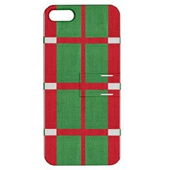 Fabric Green Grey Red Pattern Apple Iphone 5 Hardshell Case With Stand