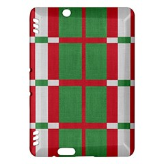 Fabric Green Grey Red Pattern Kindle Fire HDX Hardshell Case by Nexatart