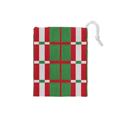 Fabric Green Grey Red Pattern Drawstring Pouches (small)  by Nexatart