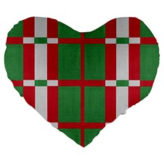 Fabric Green Grey Red Pattern Large 19  Premium Flano Heart Shape Cushions by Nexatart