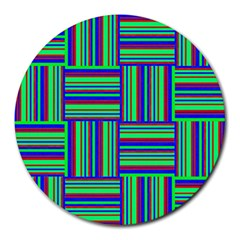 Fabric Pattern Design Cloth Stripe Round Mousepads by Nexatart