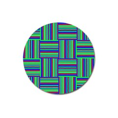 Fabric Pattern Design Cloth Stripe Magnet 3  (round) by Nexatart