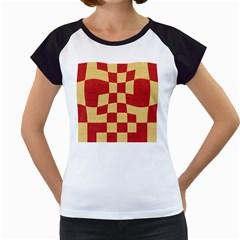 Fabric Geometric Red Gold Block Women s Cap Sleeve T by Nexatart