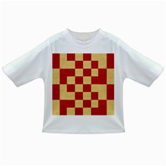 Fabric Geometric Red Gold Block Infant/toddler T Shirts by Nexatart