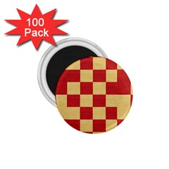 Fabric Geometric Red Gold Block 1 75  Magnets (100 Pack)  by Nexatart