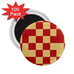 Fabric Geometric Red Gold Block 2 25  Magnets (100 Pack)