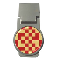 Fabric Geometric Red Gold Block Money Clips (round)  by Nexatart