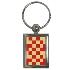 Fabric Geometric Red Gold Block Key Chains (rectangle)