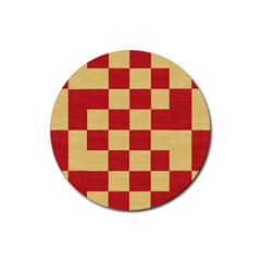 Fabric Geometric Red Gold Block Rubber Round Coaster (4 Pack)  by Nexatart