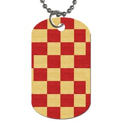 Fabric Geometric Red Gold Block Dog Tag (one Side) by Nexatart