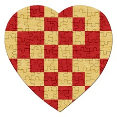 Fabric Geometric Red Gold Block Jigsaw Puzzle (heart)
