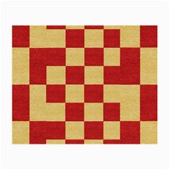 Fabric Geometric Red Gold Block Small Glasses Cloth by Nexatart