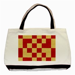 Fabric Geometric Red Gold Block Basic Tote Bag (two Sides) by Nexatart