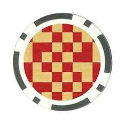 Fabric Geometric Red Gold Block Poker Chip Card Guard by Nexatart