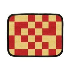 Fabric Geometric Red Gold Block Netbook Case (small)  by Nexatart