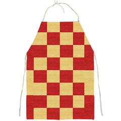 Fabric Geometric Red Gold Block Full Print Aprons by Nexatart