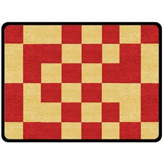 Fabric Geometric Red Gold Block Fleece Blanket (large)  by Nexatart