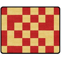 Fabric Geometric Red Gold Block Fleece Blanket (medium)  by Nexatart