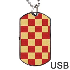 Fabric Geometric Red Gold Block Dog Tag USB Flash (Two Sides) by Nexatart