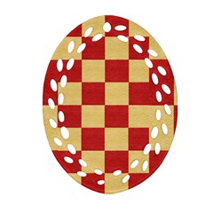 Fabric Geometric Red Gold Block Ornament (oval Filigree) by Nexatart