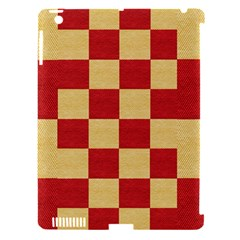Fabric Geometric Red Gold Block Apple Ipad 3/4 Hardshell Case (compatible With Smart Cover) by Nexatart