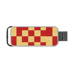 Fabric Geometric Red Gold Block Portable Usb Flash (one Side)