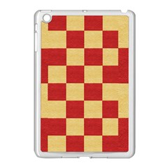 Fabric Geometric Red Gold Block Apple Ipad Mini Case (white) by Nexatart
