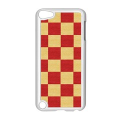 Fabric Geometric Red Gold Block Apple Ipod Touch 5 Case (white) by Nexatart
