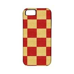 Fabric Geometric Red Gold Block Apple Iphone 5 Classic Hardshell Case (pc+silicone)
